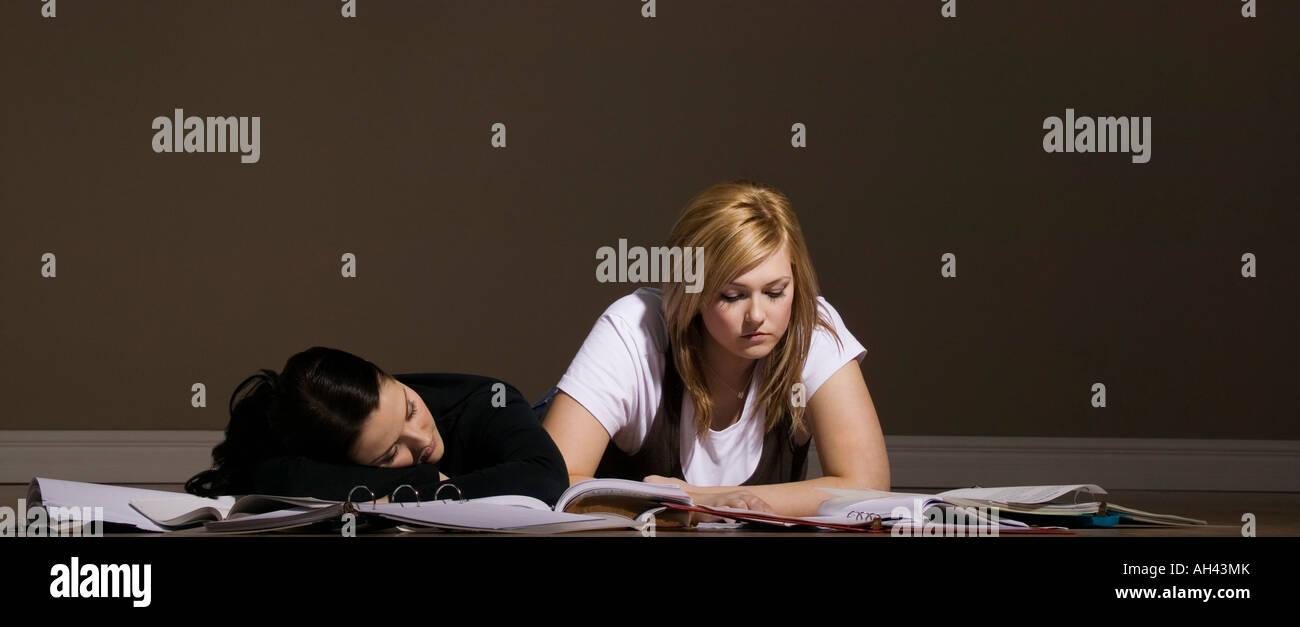 Two women studying and sleeping Stock Photo