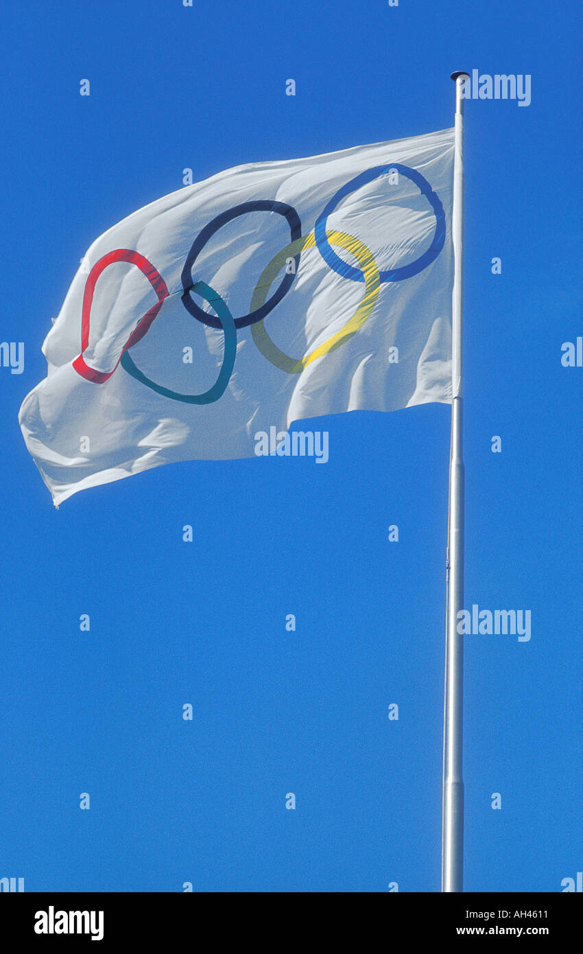 The Official Olympic Flag which is flown at all Olympic Games  - Stock Image