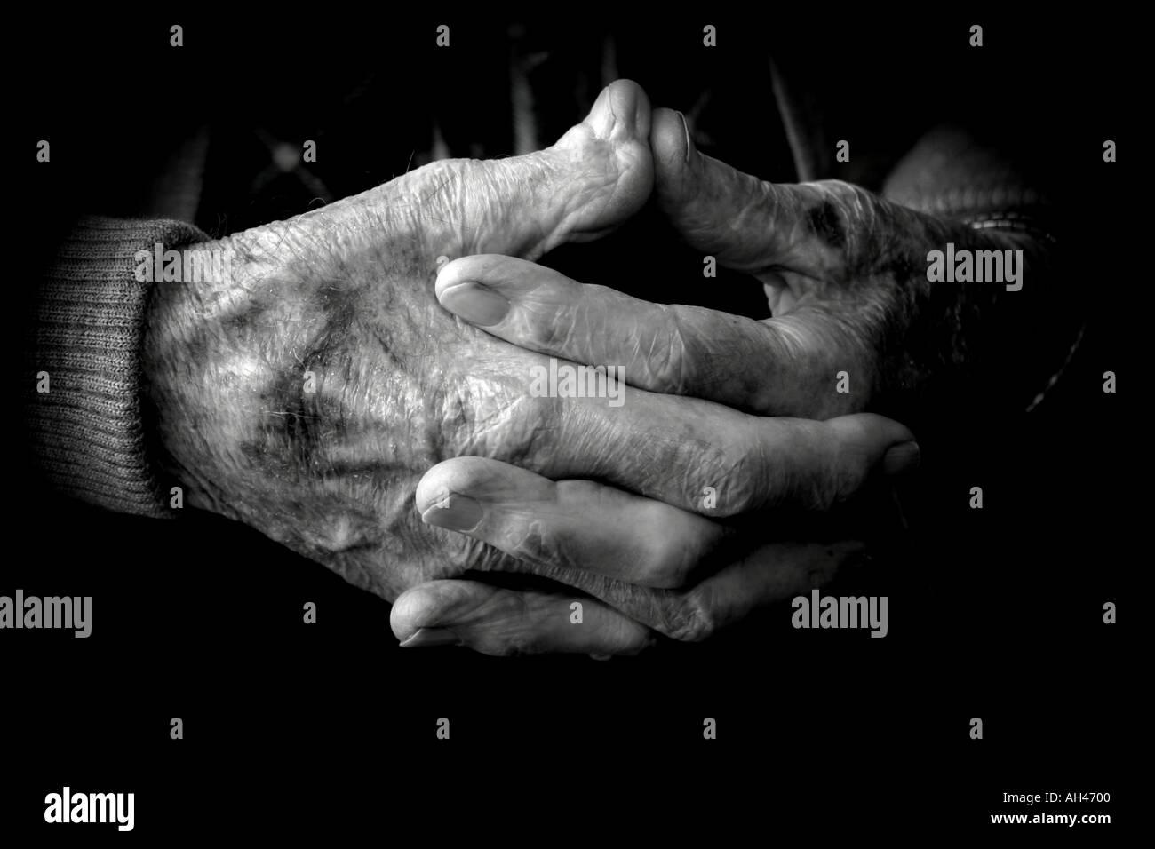 Elderly mans hands - Stock Image
