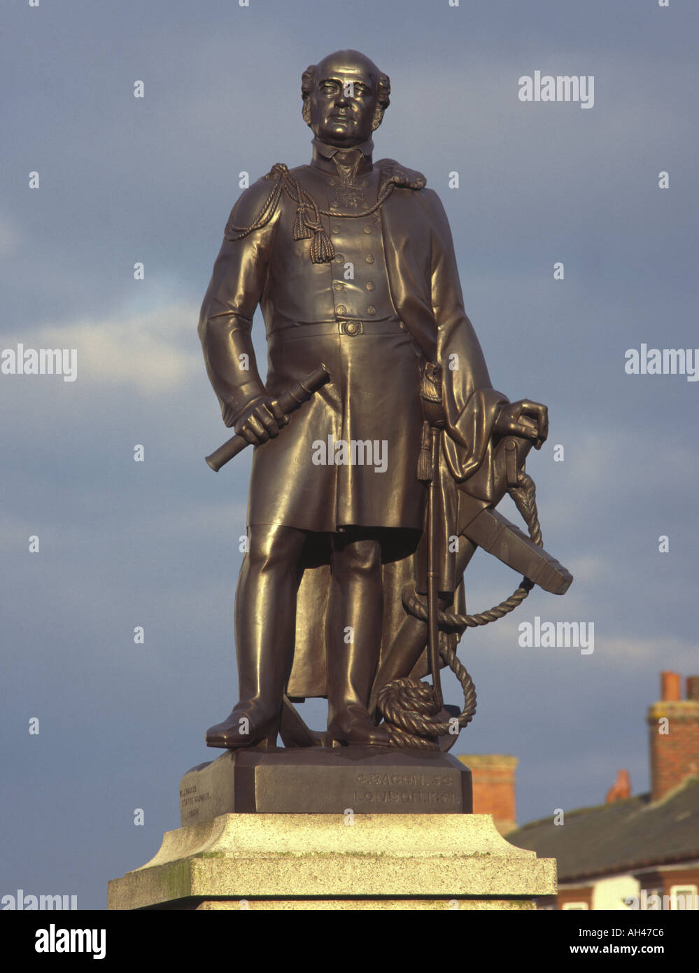 Stature of Sir John Franklin in his birthplace of Spilsby at the foot of the Lincolnshire Wolds UK - Stock Image