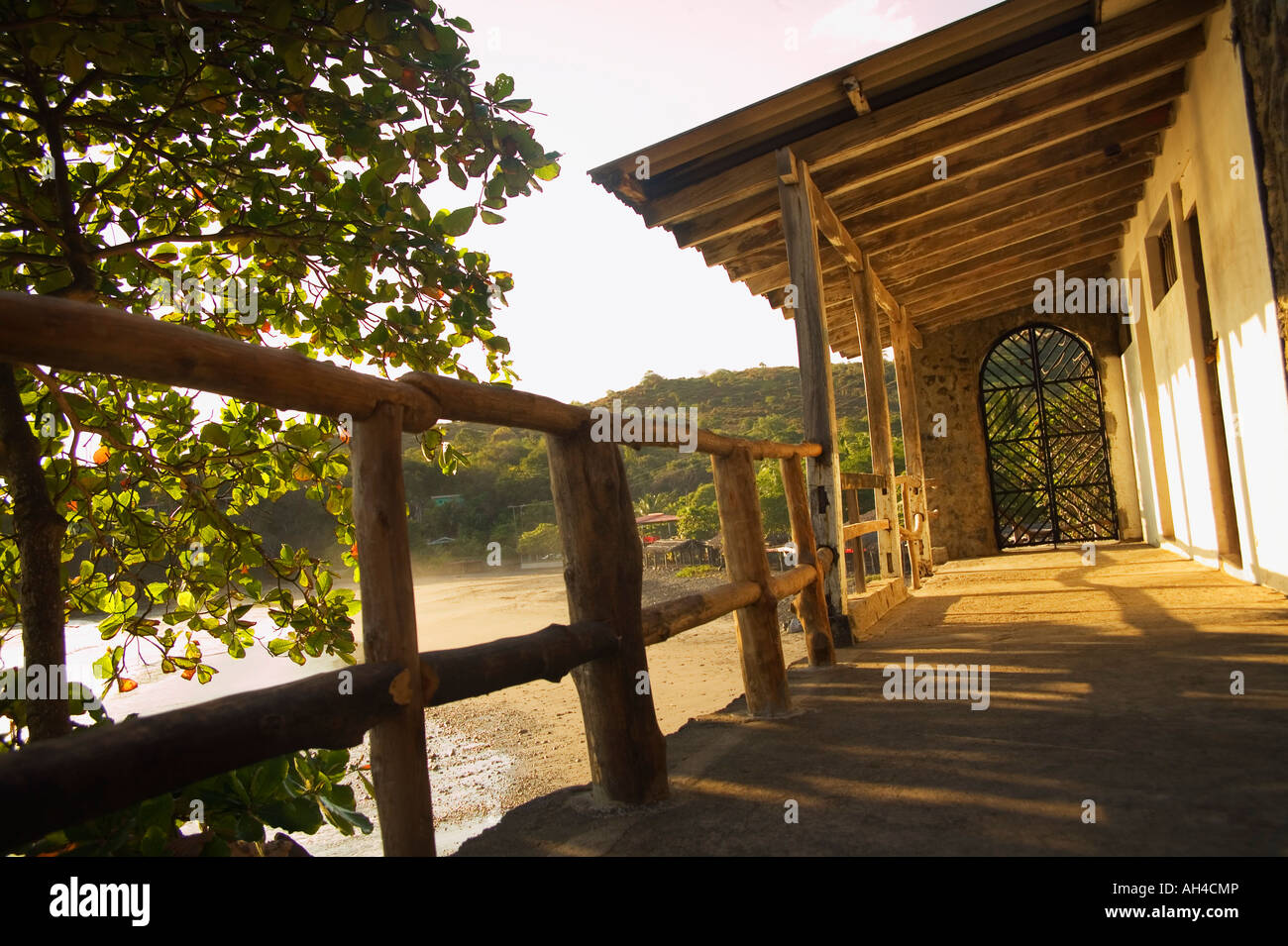 Porch facing water - Stock Image