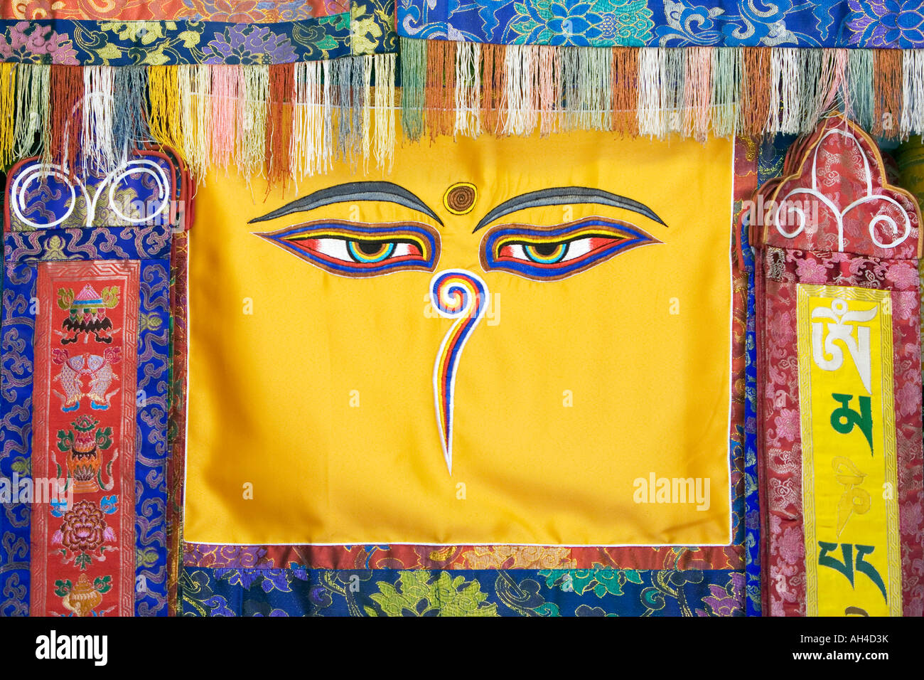 Tibetan Buddhist eyes wall hanging. Kathmandu, Nepal Stock Photo ...