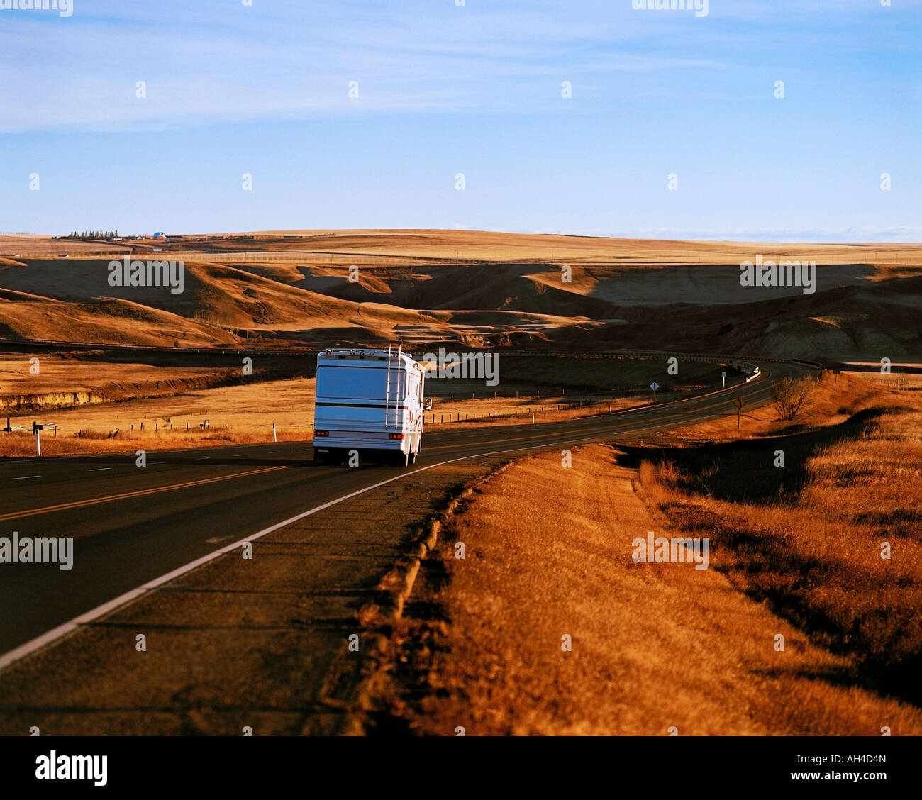 An RV travelling down the hiway Stock Photo