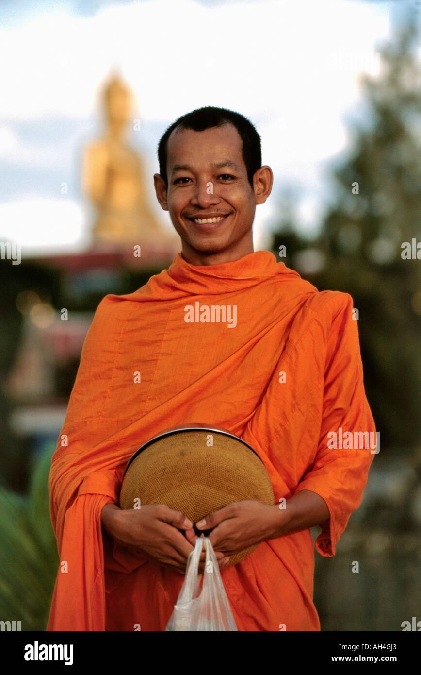 smiling buddhist monk, Koh Samui Island, Thailand - Stock Image