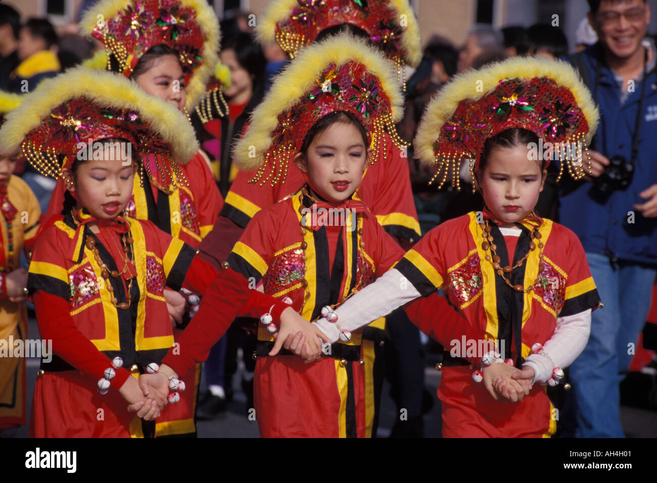 Children in traditional Chinese ethnic costume march in Chinese New Year parade Chinatown Vancouver British Columbia  sc 1 st  Alamy & Children in traditional Chinese ethnic costume march in Chinese New ...