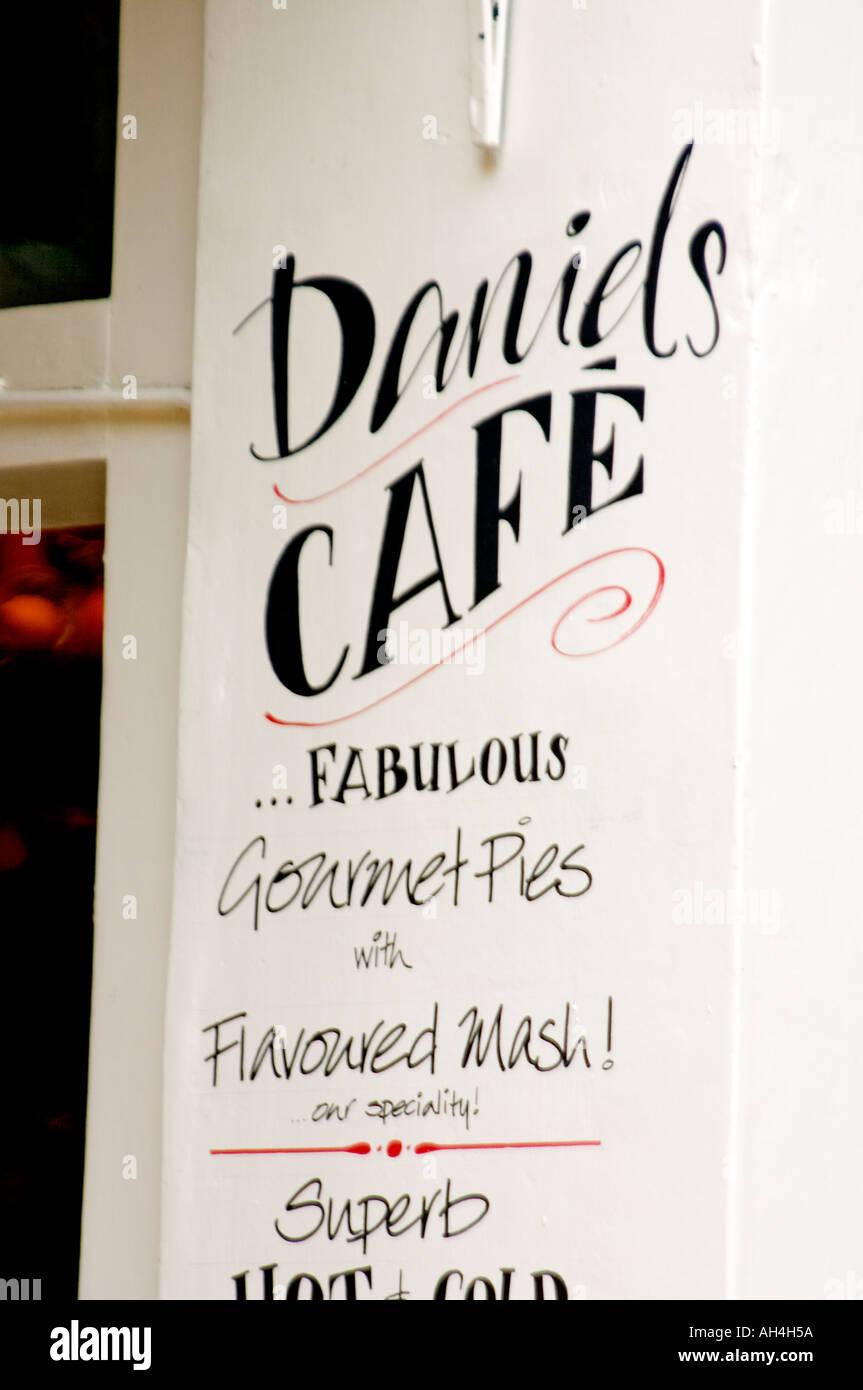 Daniels Cafe logo name sign in Shepherd Market Mayfair