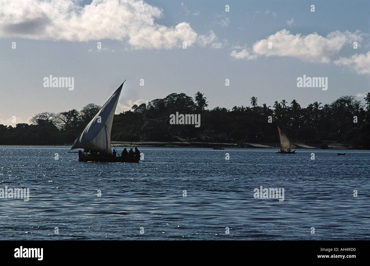 Dhow operating as a local ferry transporting people and produce between Mafia and Chole island south of Zanzibar Tanzania - Stock Image