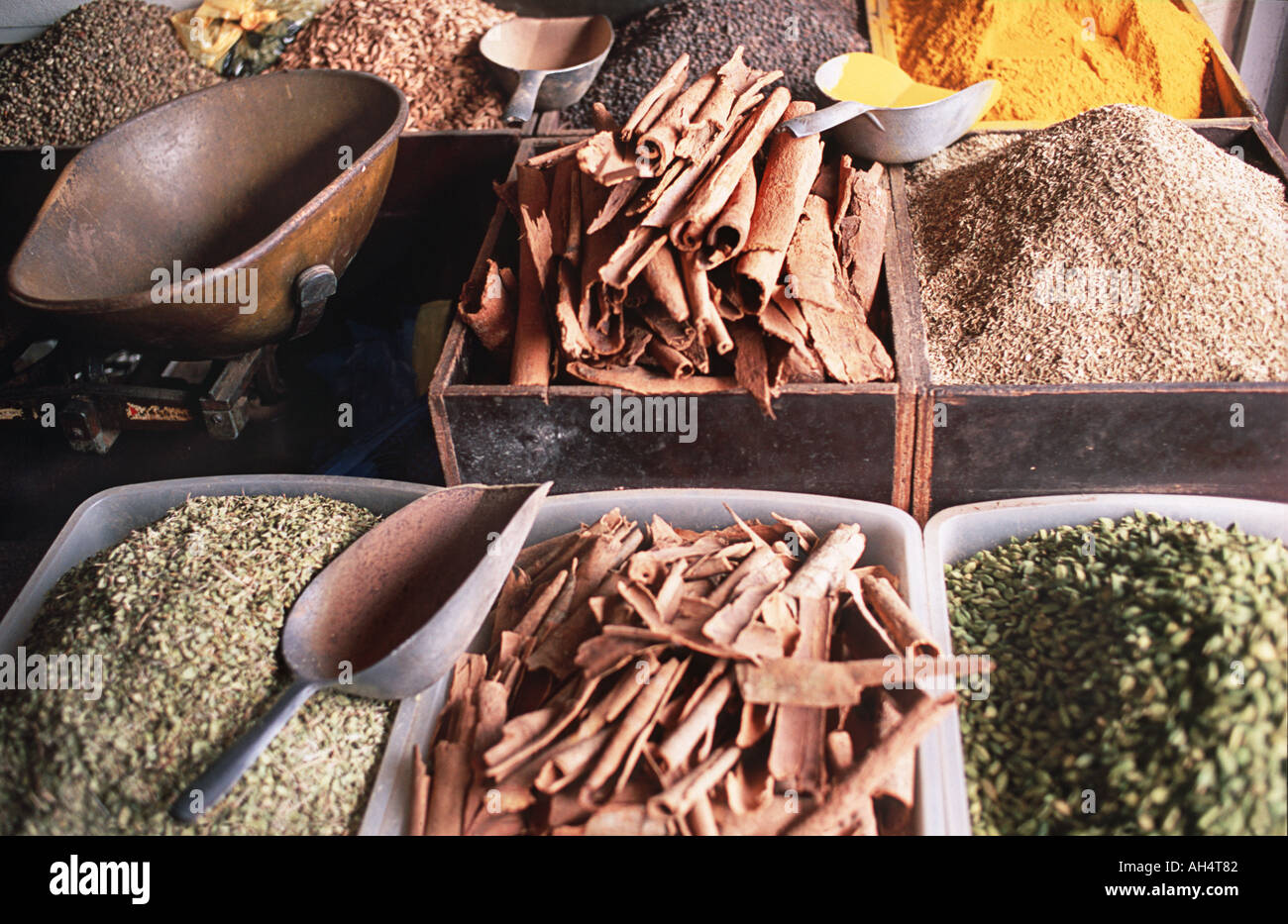 Grain spices and curry powder for sale at market Stone Town Zanzibar Tanzania Spice Tours are popular excursions E Africa - Stock Image