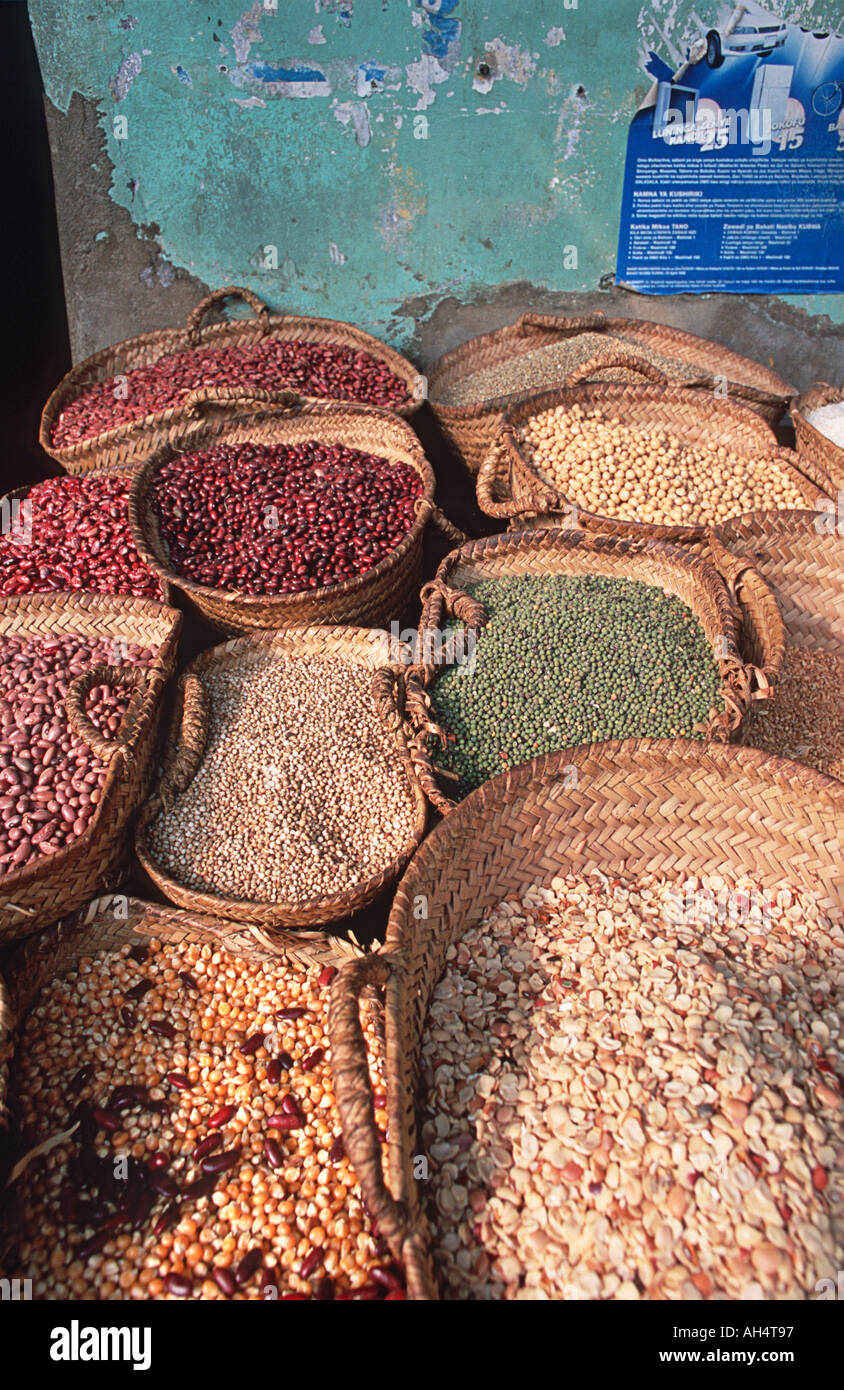 Grain and spices for sale at market Stone Town Zanzibar Tanzania Spice Tours are popular excursions in Zanzibar East Africa - Stock Image