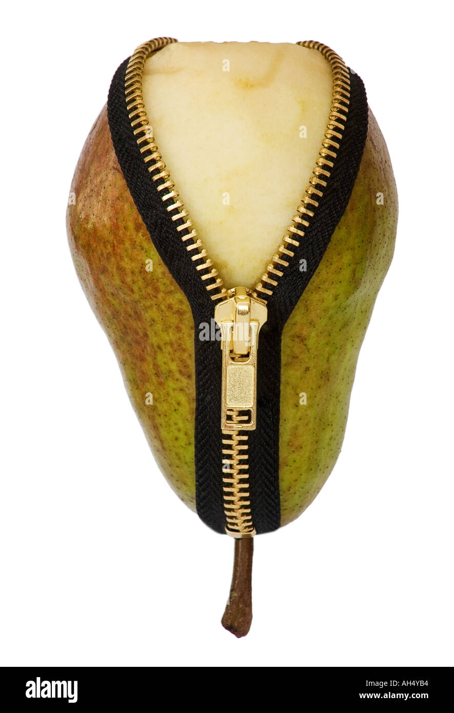 A tape measure wrapped around a pear with a zipped opening isolated on a white background - Stock Image