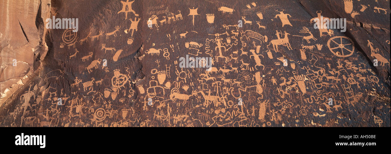 United States of America, Utah, Canyonlands National Park, Newspaper Rock, Anasazi Indian petroglyphs panoramic - Stock Image
