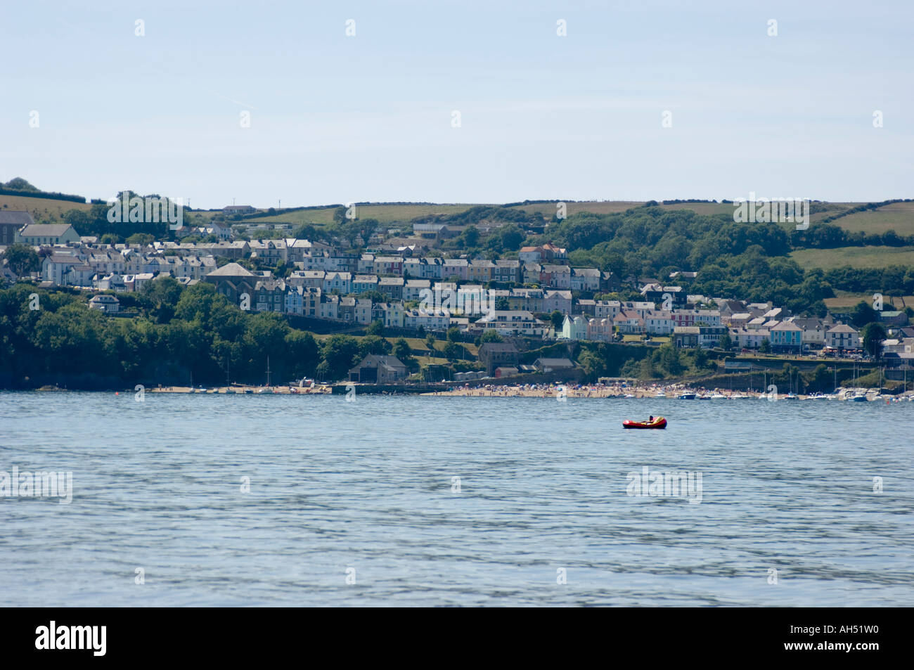 Looking at New Quay from Traethgwyn Beach, between Cei Bach and New Quay, Ceredigion Wales UK summer afternon - Stock Image