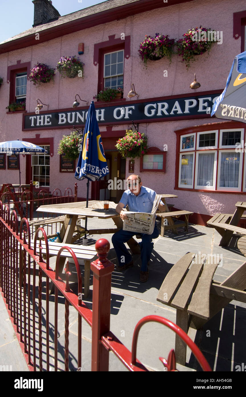 Man reading paper outside The Bunch of Grapes pub, Newcastle emlyn Carmarthenshire Wales Cymru UK - Stock Image