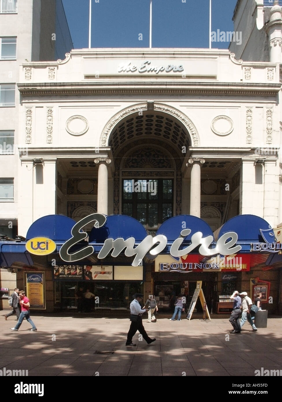 Archival historical view of large sign over entrance to The Empire Cinema Theatre Entertainment complex Leicester Stock Photo