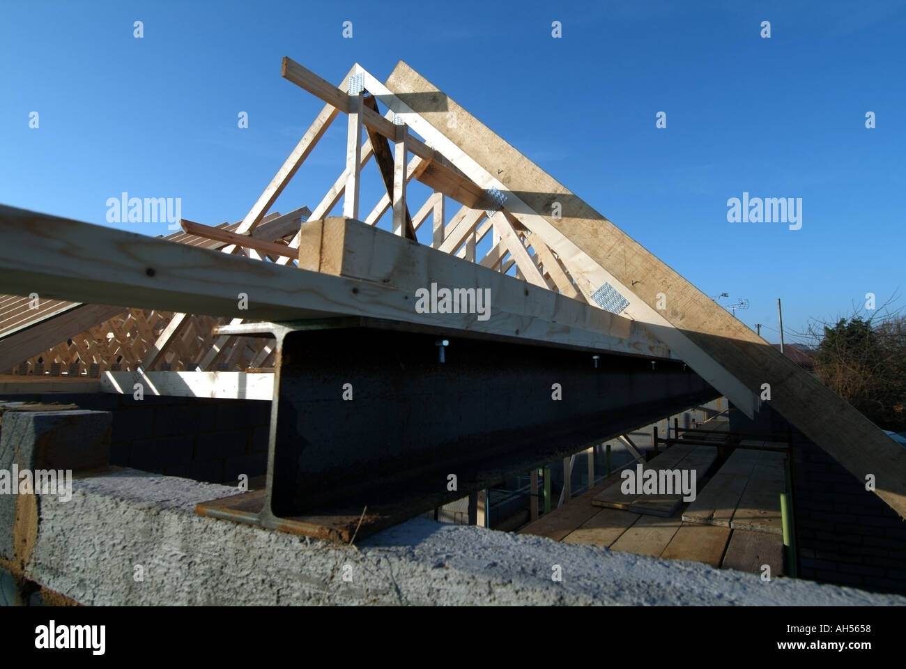 Detached House Work In Progress Assembling Prefabricated Roof