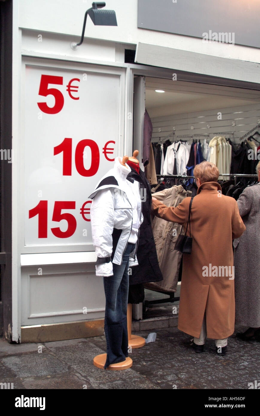 Paris Les Halles clothing shop entrance displaying large sign with price indicators in Euro currency Stock Photo