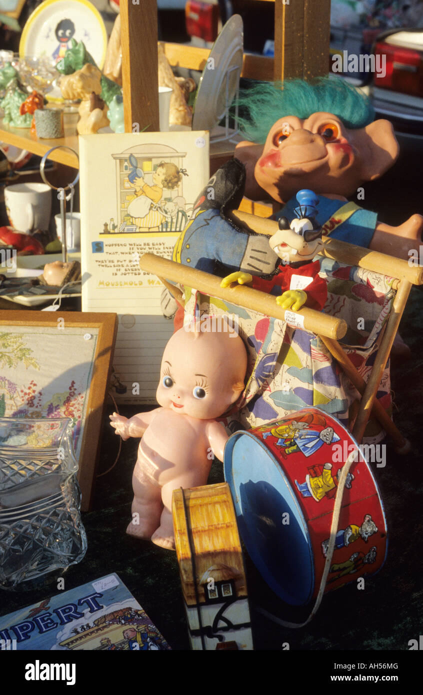 childrens toys at antique fair or car boot sale - Stock Image