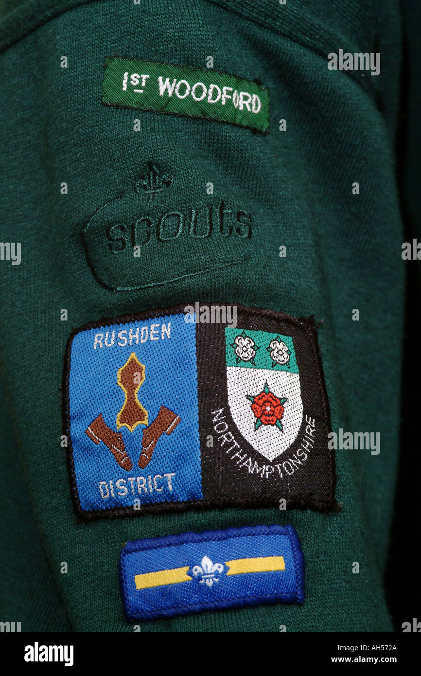 Scouting Arm Badges 1st Woodford Rushden District Northamptonshire England UK - Stock Image