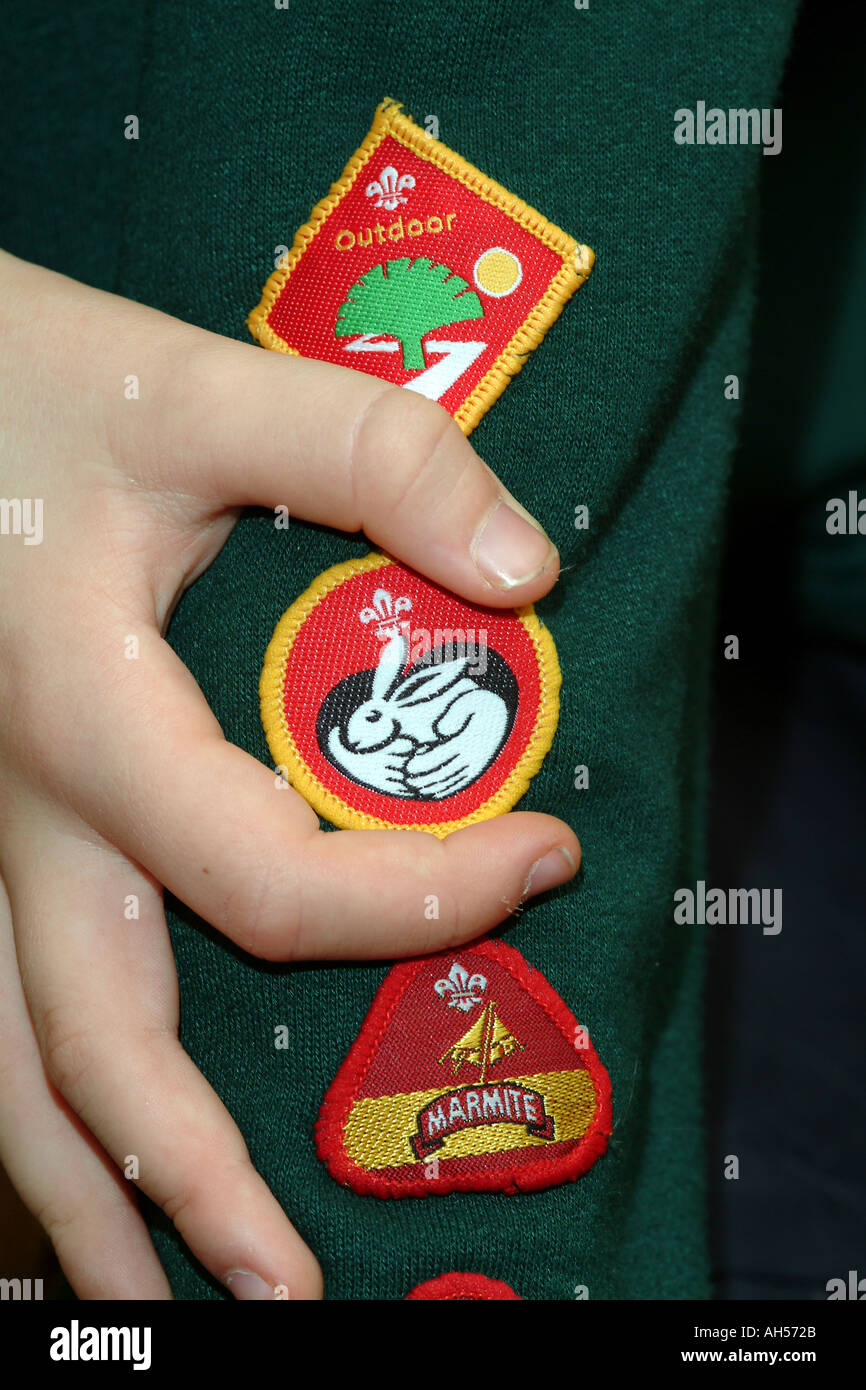 Scouting Movement Arm Badges for Achievement England UK - Stock Image