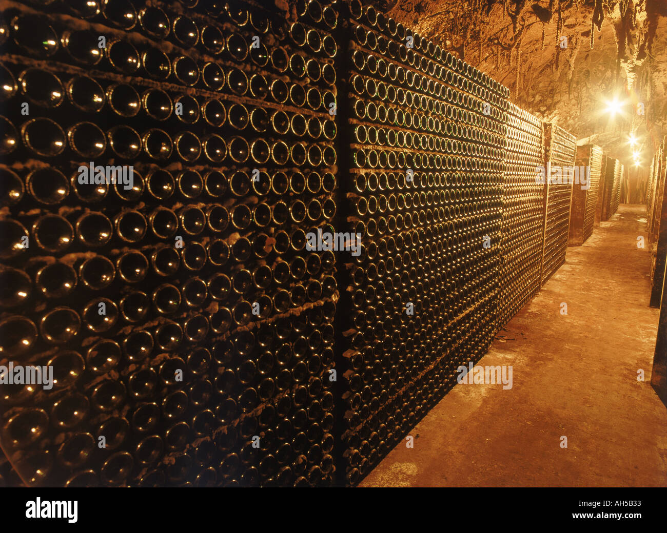 Bottles of aging wine at Cune Bodega in Rioja region of Spain - Stock Image