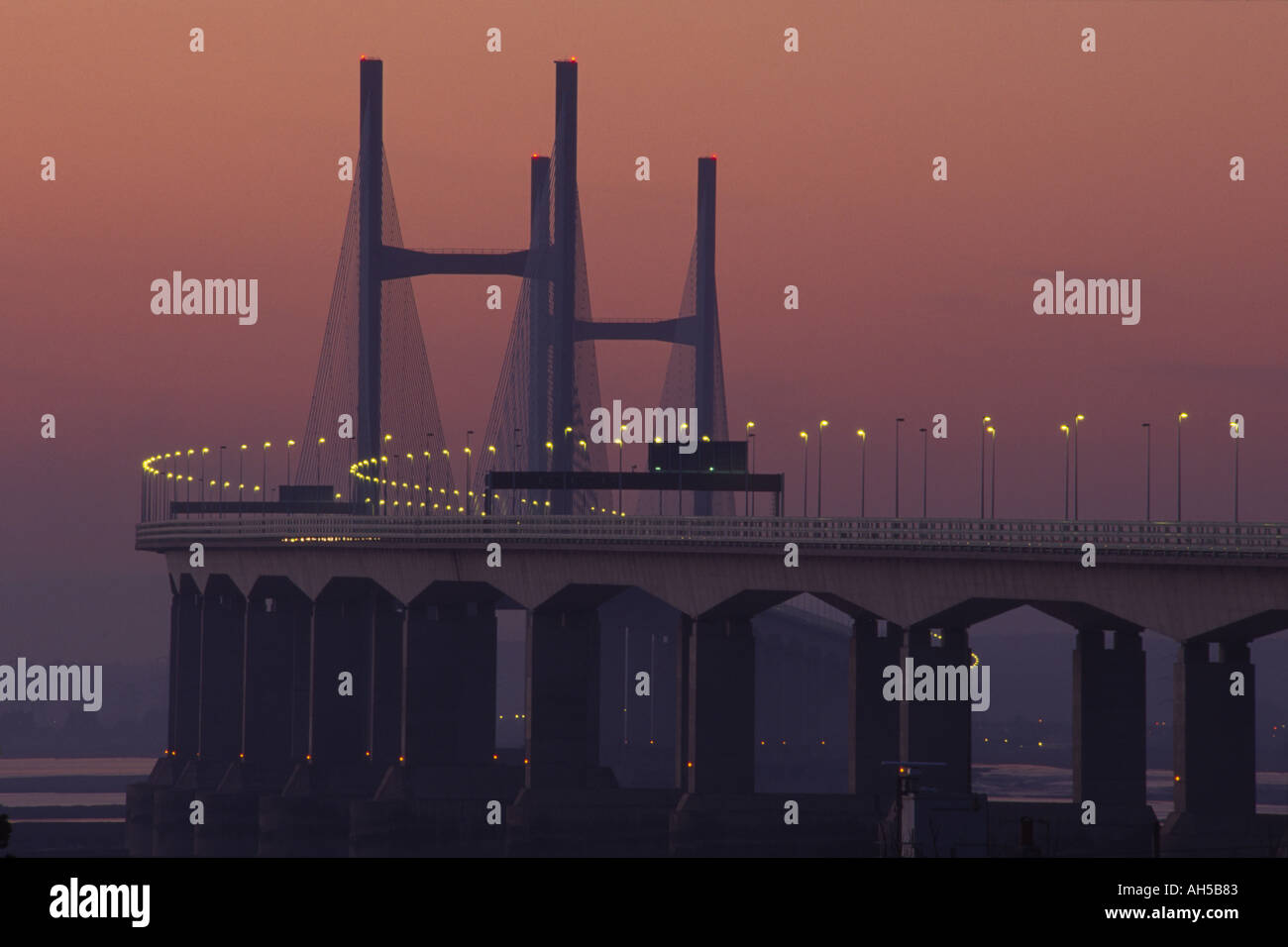 New Severn Bridge at sunset Avon England Stock Photo
