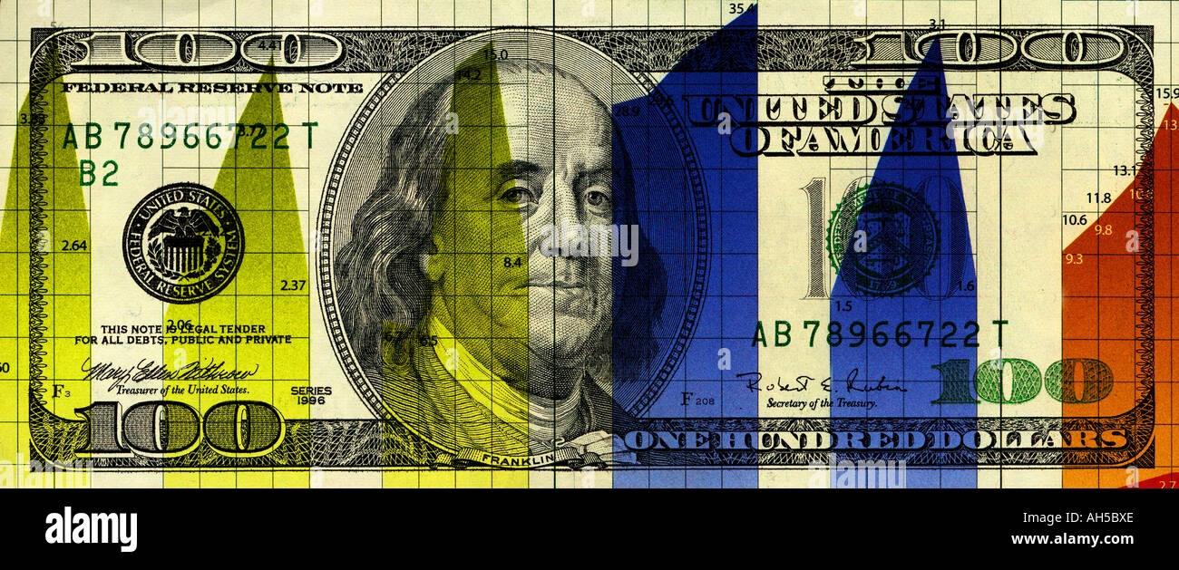 financial statement chart composited on one hundred dollar bill - Stock Image