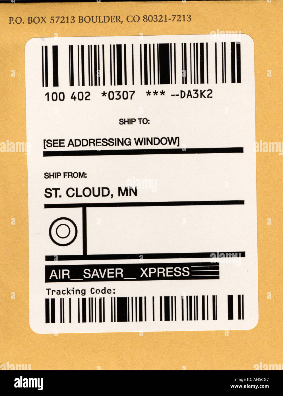 Package Address Shipping Label Showing Weight And Zip Code Stock