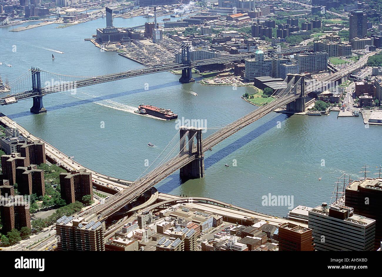 New York City East River Bridges Downtown Usa Stock Photo Alamy