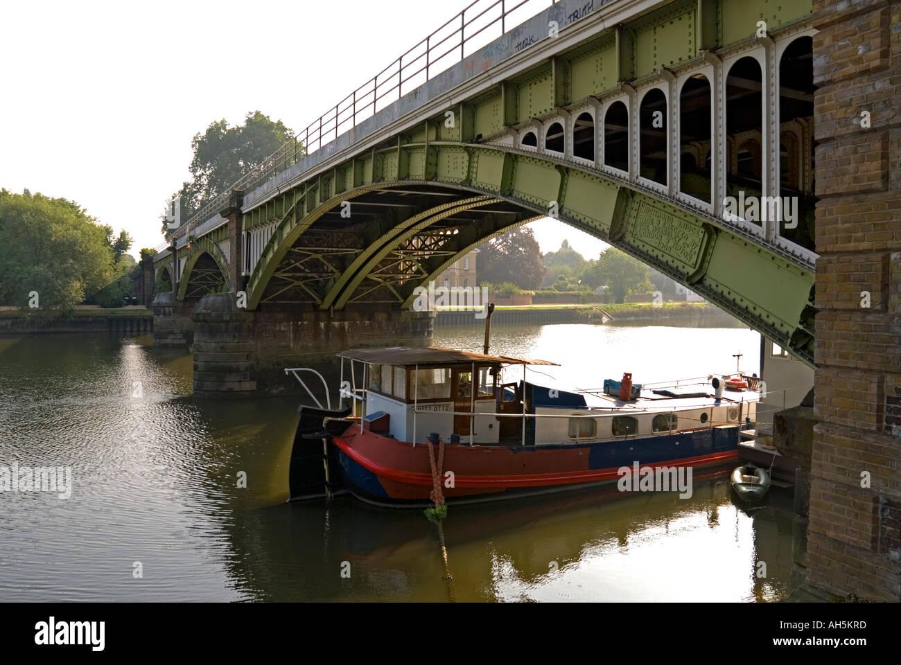 Richmond railway bridge on the River Thames London - Stock Image