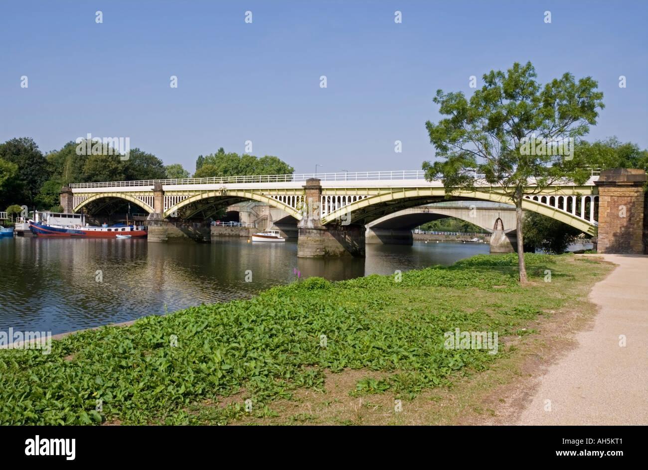 Richmond railway bridge on the River Thames, London - Stock Image
