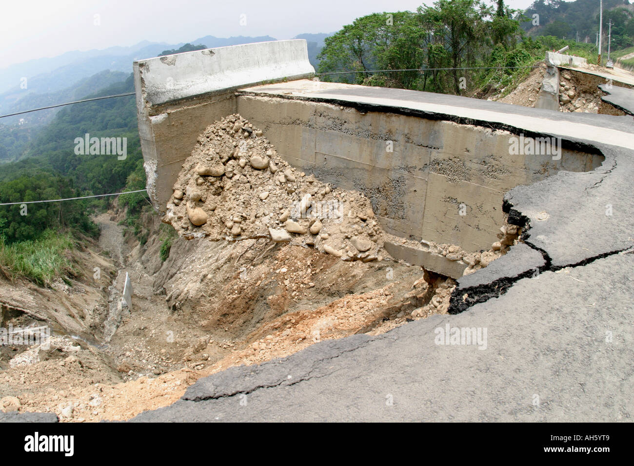 Road collapse - Stock Image