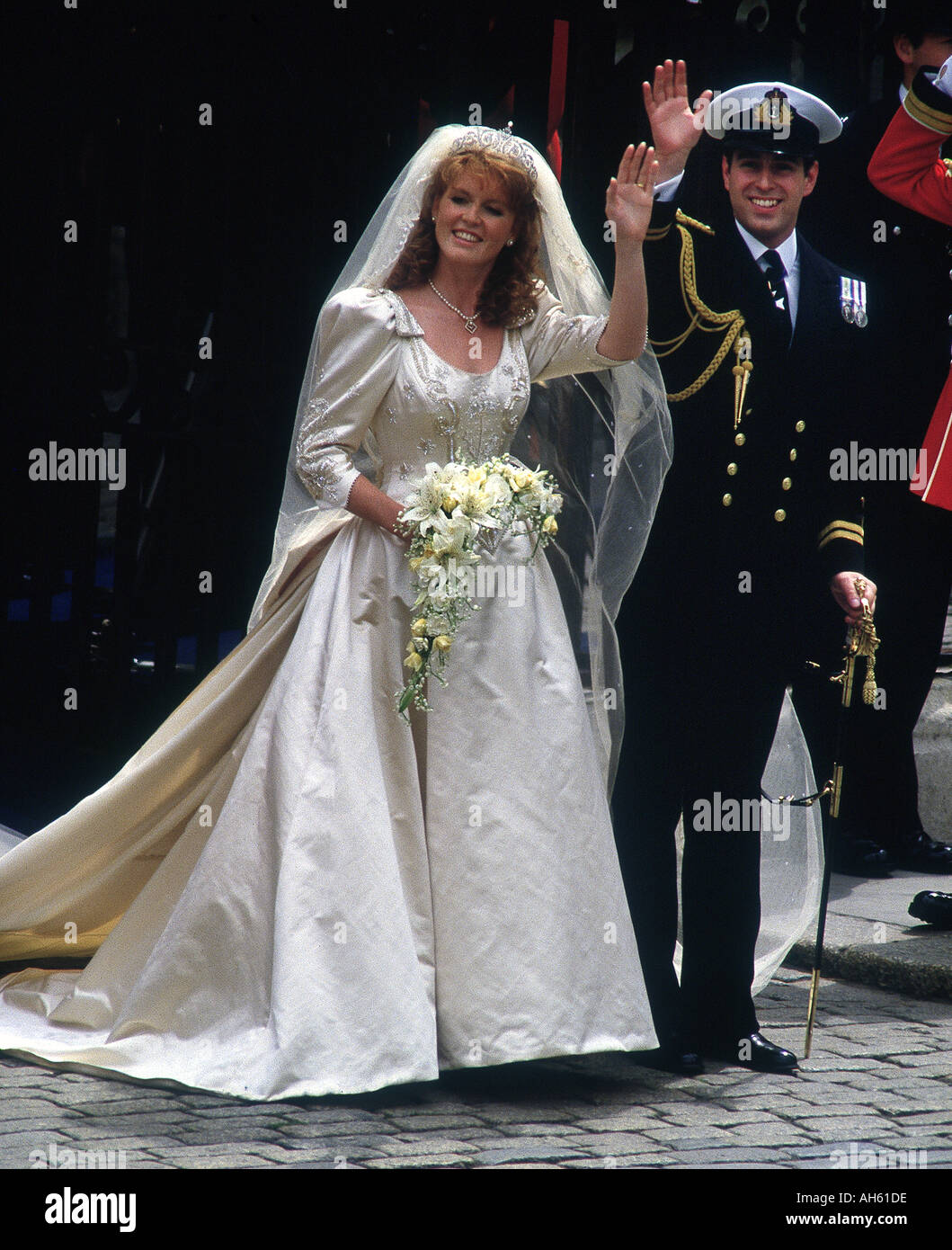 The Duke and Duchess of York wedding Westminster Abbey London uk 1986photo Jayne Fincher Stock Photo