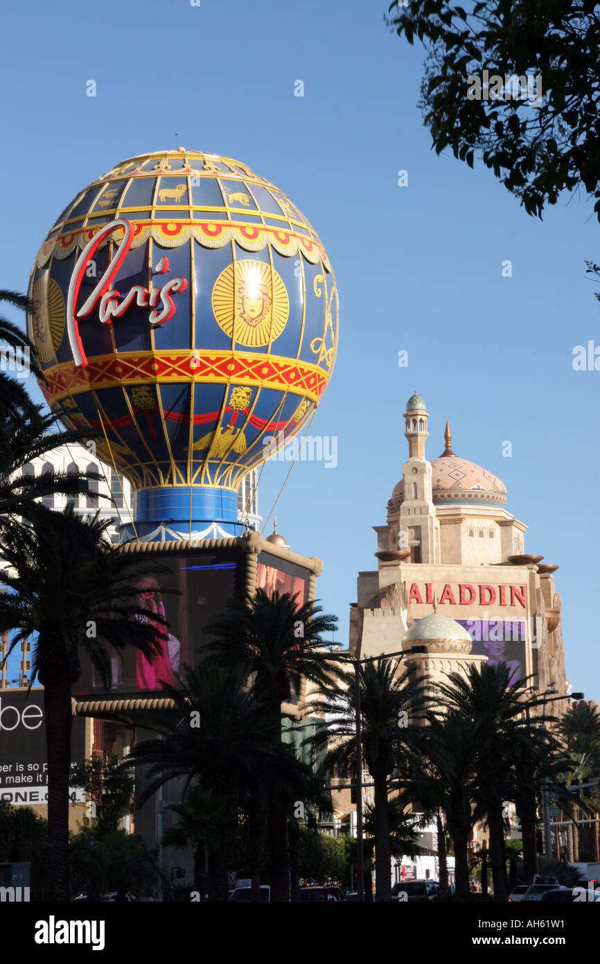 The Paris Hotel and Casino Hot Air Balloon with Aladdin\'s Hotel and ...