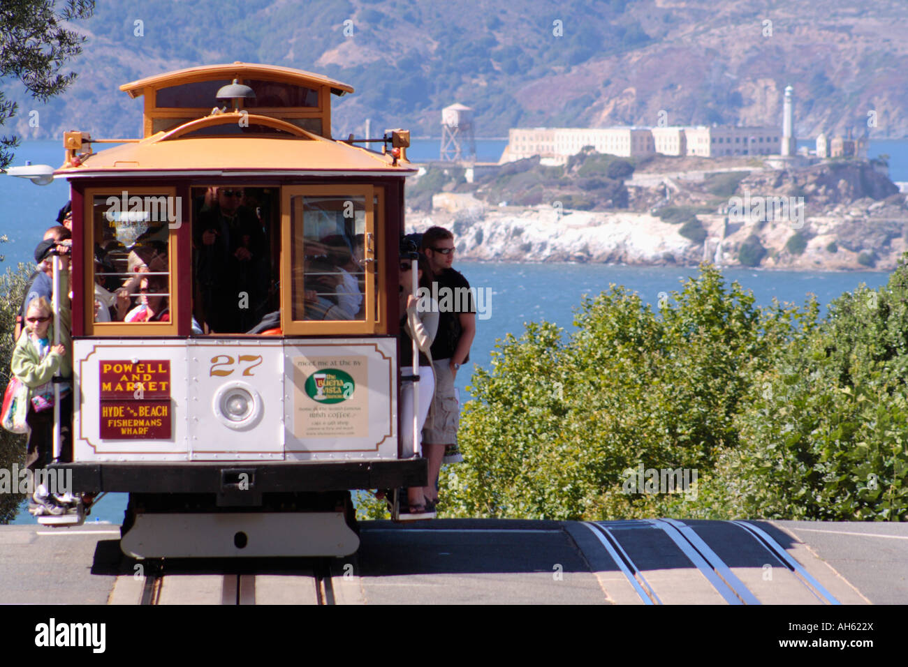 Cable car and Alcatraz Island Stock Photo