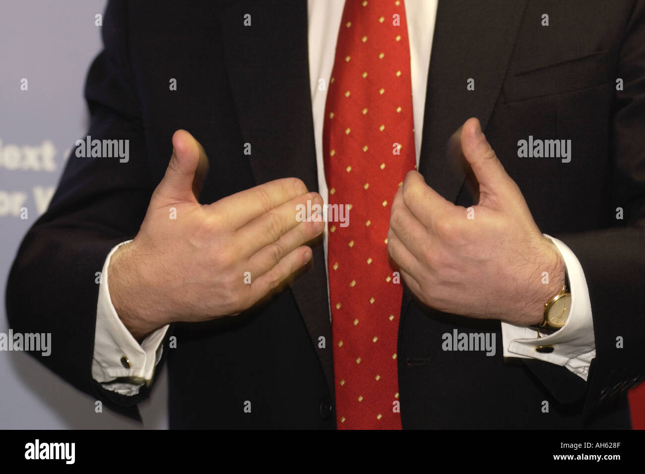 Hand gestures from Gordon Brown while giving speech in South Wales UK - Stock Image