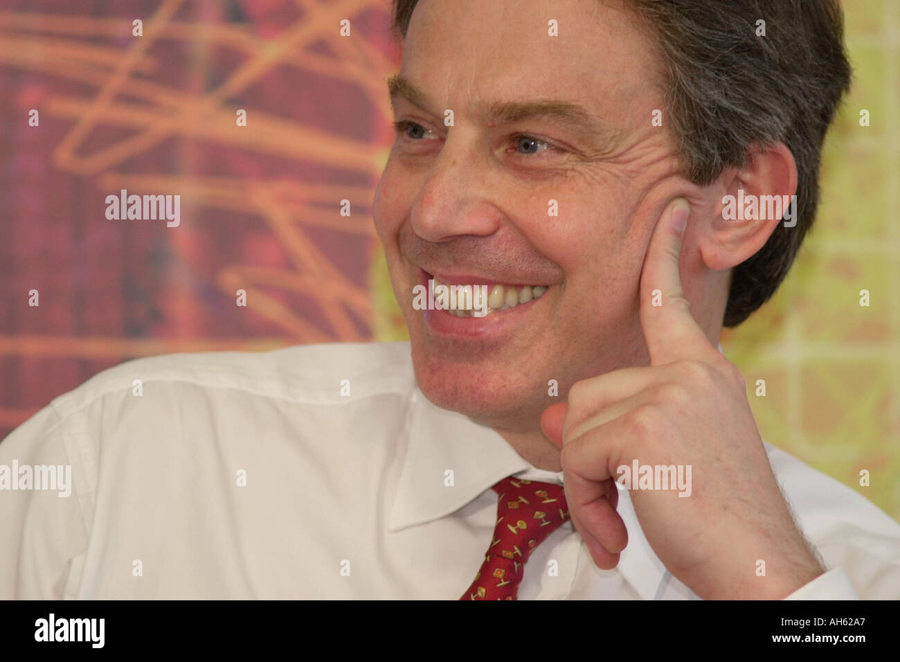 Hand gestures from Prime Minister Tony Blair while speaking at a political event in UK - Stock Image