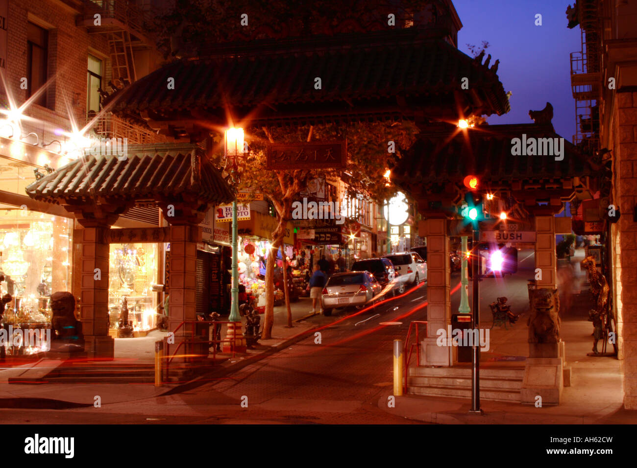 San Francisco Chinatown gate at night Stock Photo