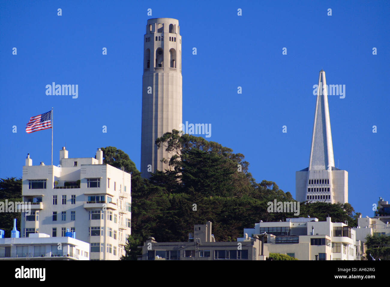 Coit Tower and Transamerica Building, San Francisco Stock Photo