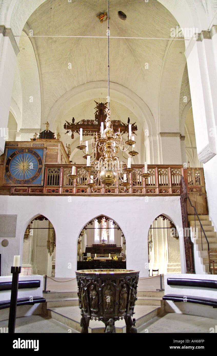 Luebeck Dom innen Taufbecken Stock Photo