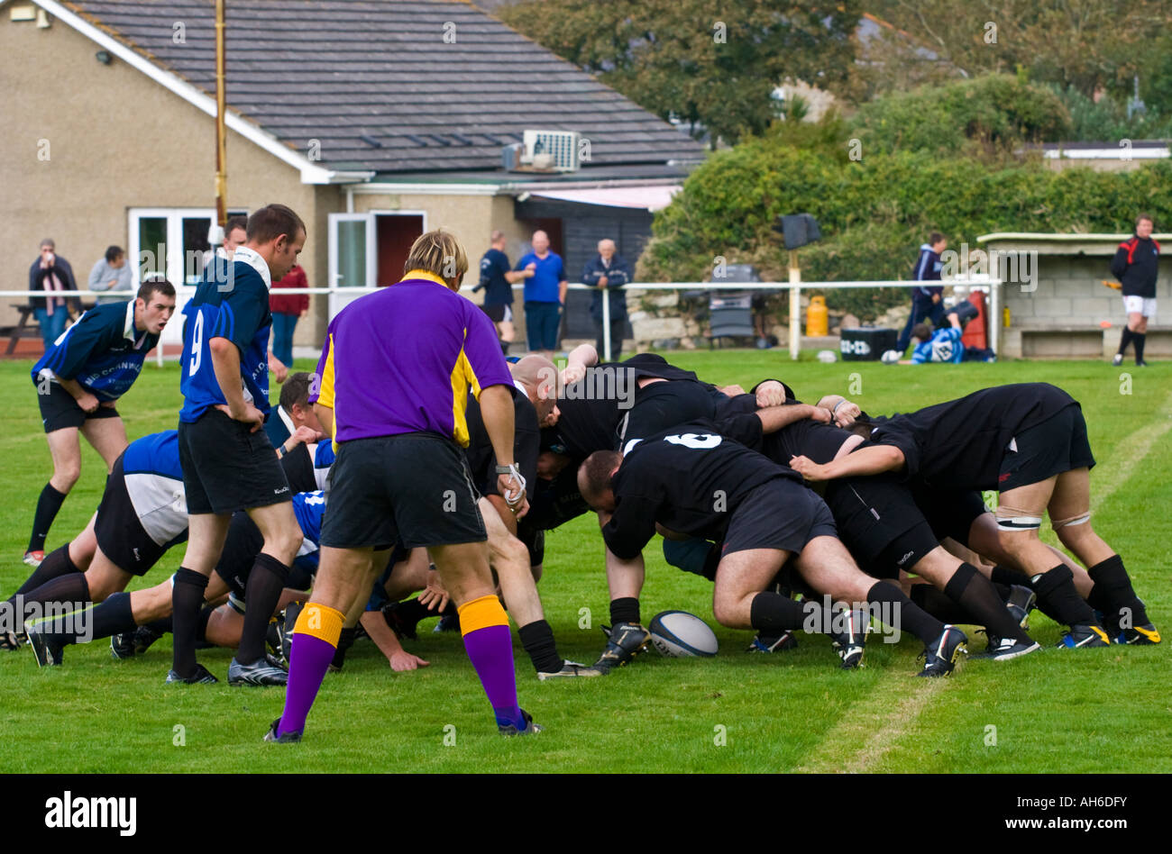 Two local Cornish rugby teams contest a Scrum during a Cornwall 1 League Match - Stock Image