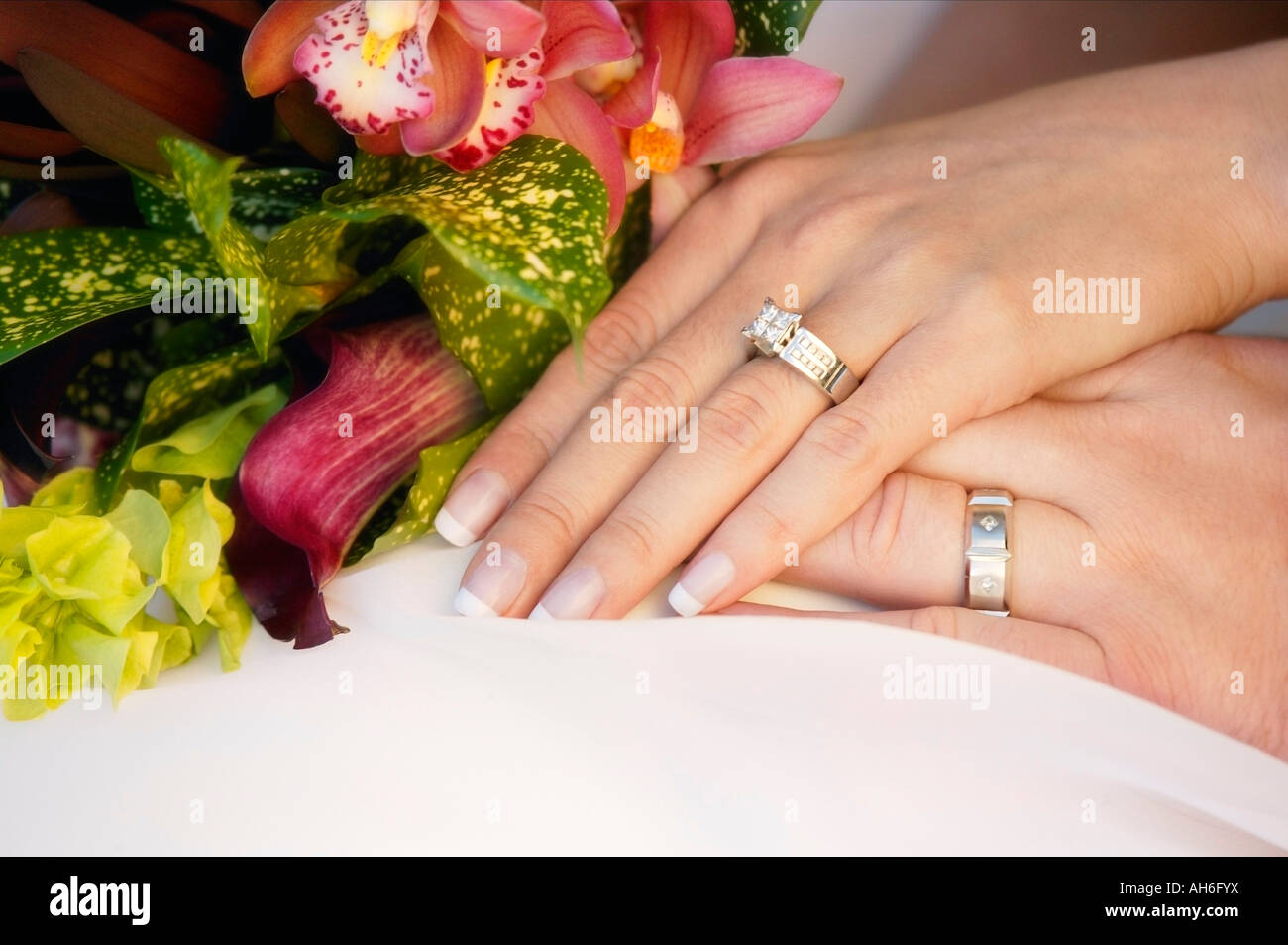 Wedding couples hands - Stock Image