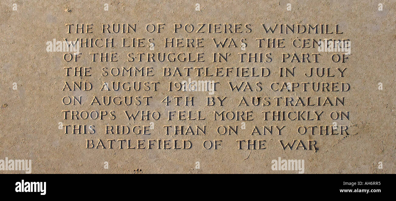 Inscription at Pozieres Windmill Australian Memorial The Somme Picardy France - Stock Image