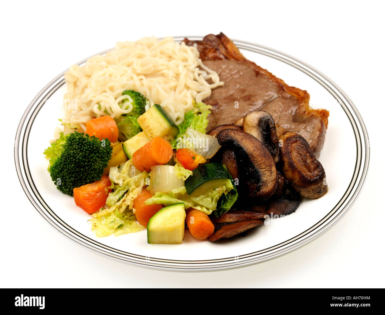 Lean Grilled Steak and Noodles - Stock Image
