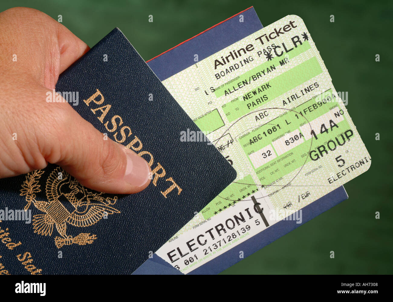 American Passport and Airline Ticket - Stock Image