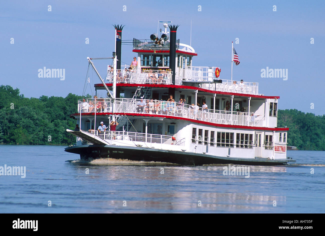 Paddlewheeler River Boat Mark Twain On The Mississippi At