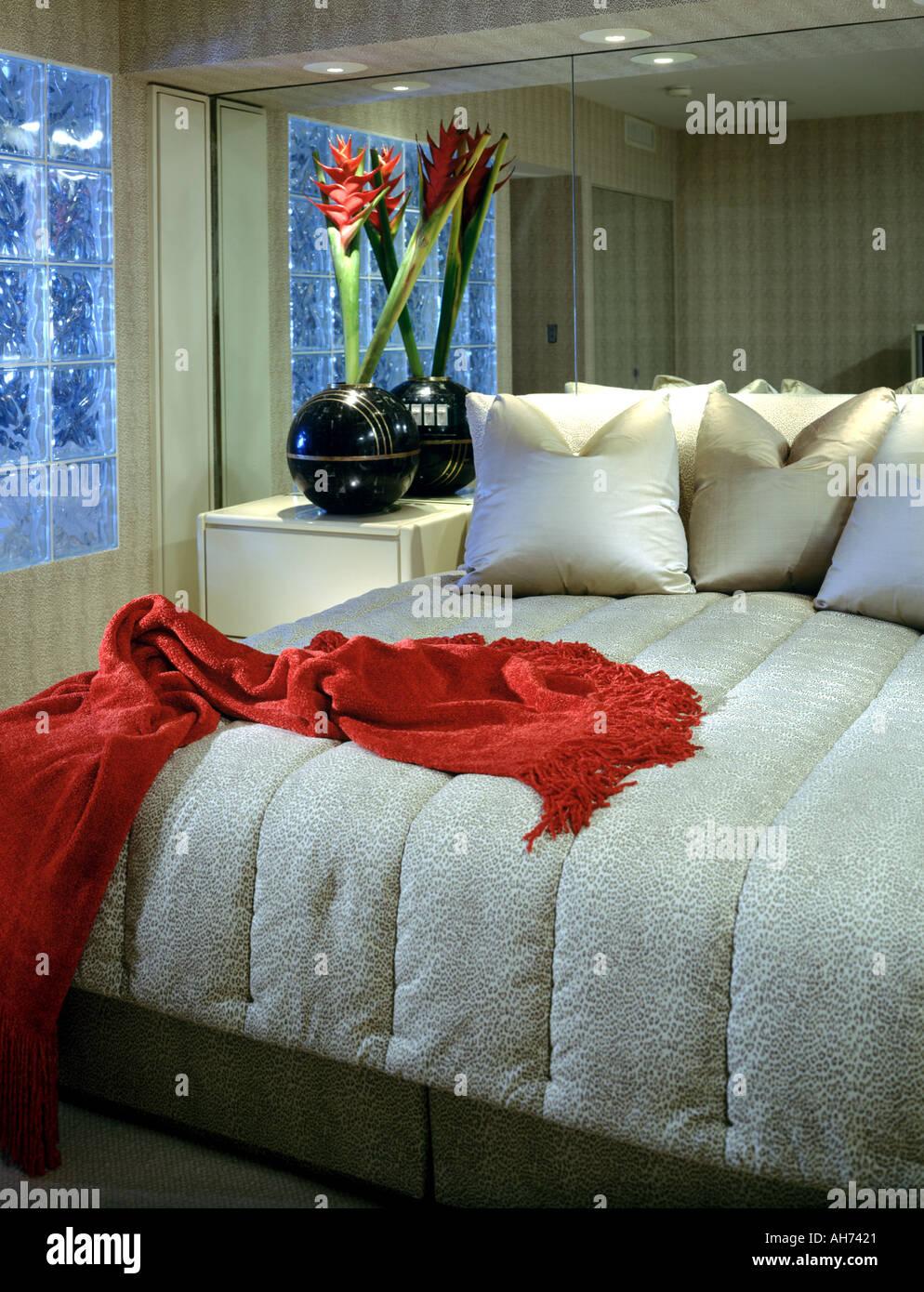 bedroom residential interior carpet bed headboard comforter ...