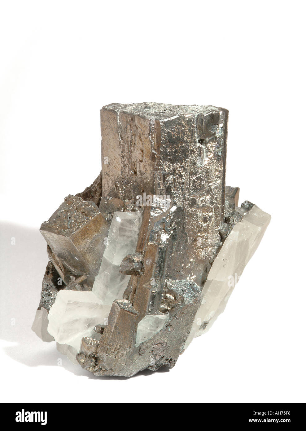 Mineral Tetrahedrite in cluster with colorless bladed crystalline barite Enargites replaced by silvery metallic Stock Photo