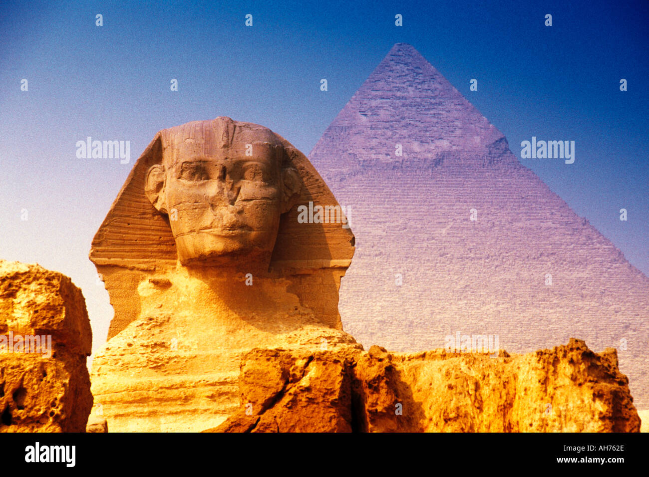 Egypt Sphinx at the Pyramides of Gizeh - Stock Image