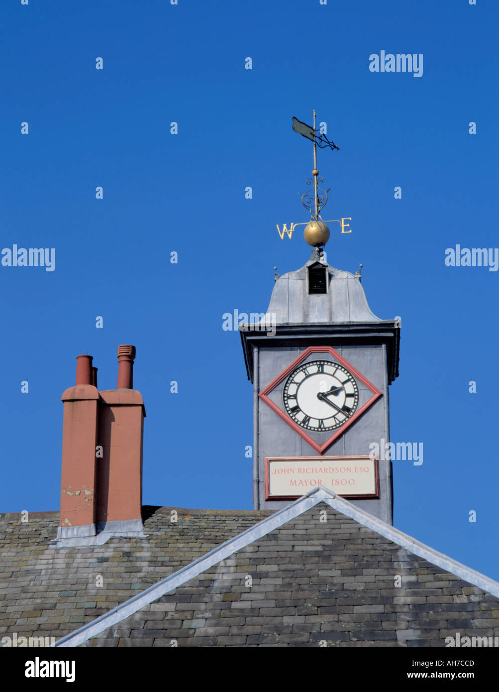 Lead faced and roofed clock tower of the 18th century Old Town Hall, Carlisle, Cumbria, England, UK. - Stock Image