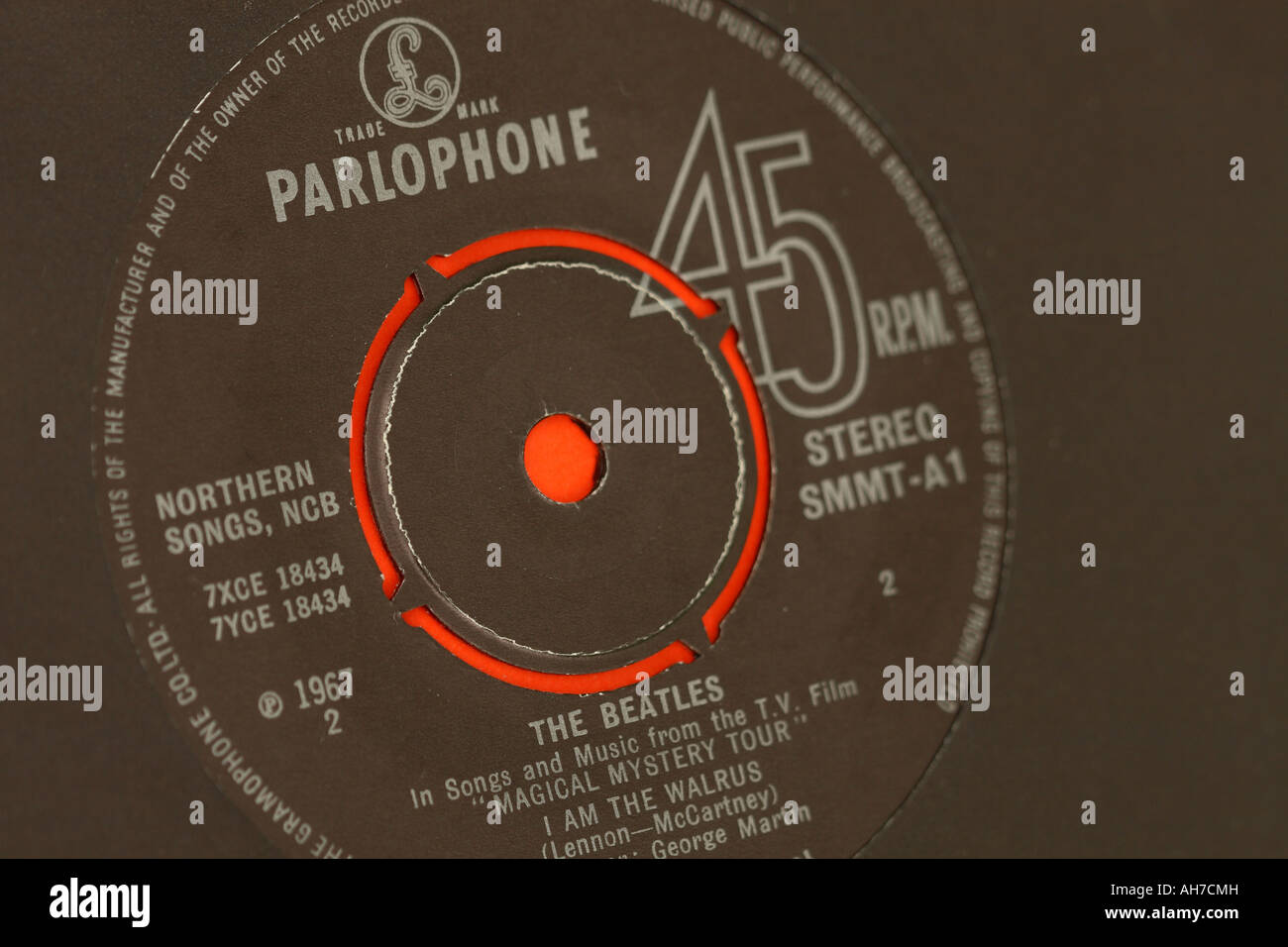 Parlophone record company single by The Beatles - Stock Image